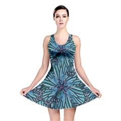 Modern Floral Collage Pattern Reversible Skater Dresses