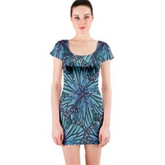 Modern Floral Collage Pattern Short Sleeve Bodycon Dresses