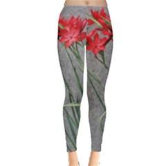 Red Flowers Women s Leggings