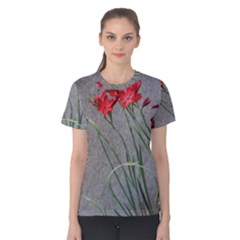Red Flowers Women s Cotton Tee