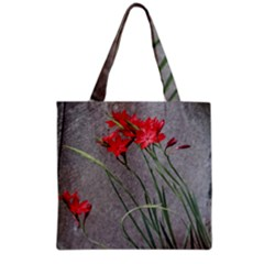 Red Flowers Grocery Tote Bags