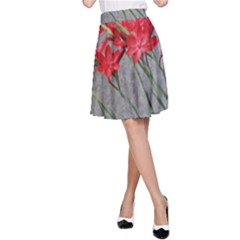 Red Flowers A Line Skirt