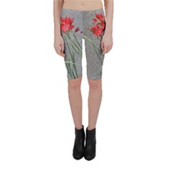 Red Flowers Cropped Leggings