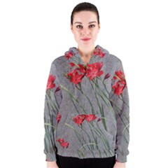 Red Flowers Women s Zipper Hoodie