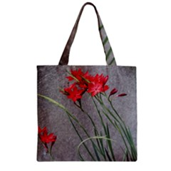 Red Flowers Zipper Grocery Tote Bag