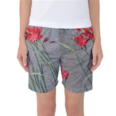 Red Flowers Women s Basketball Shorts