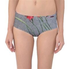 Red Flowers Mid-Waist Bikini Bottoms