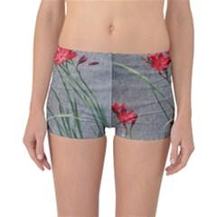 Red Flowers Reversible Boyleg Bikini Bottoms