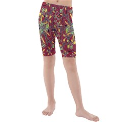Colorful Oriental Floral Motif Print Kid s Mid Length Swim Shorts