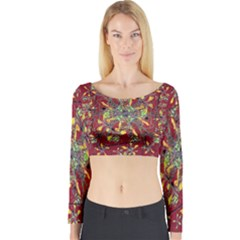 Colorful Oriental Floral Motif Print Long Sleeve Crop Top (Tight Fit)