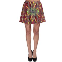 Colorful Oriental Floral Print Skater Skirts