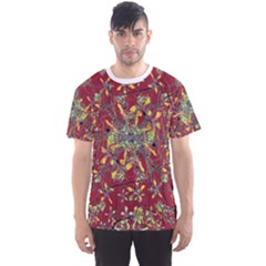 Colorful Oriental Floral Print Men s Sport Mesh Tees