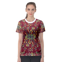 Colorful Oriental Floral Print Women s Sport Mesh Tees