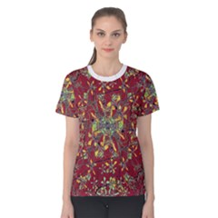 Colorful Oriental Floral Print Women s Cotton Tees