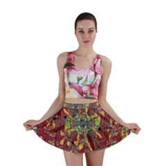 Colorful Oriental Floral Print Mini Skirts