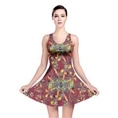 Colorful Oriental Floral Print Reversible Skater Dresses