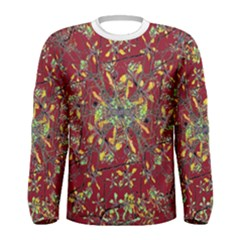 Colorful Oriental Floral Print Men s Long Sleeve T-shirts