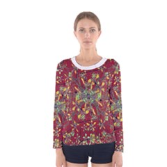 Colorful Oriental Floral Print Women s Long Sleeve T Shirts