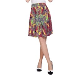 Colorful Oriental Floral Print A-Line Skirts