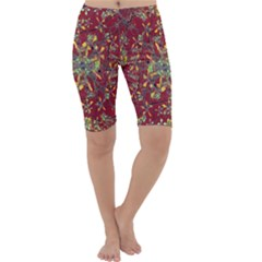 Colorful Oriental Floral Motif Print Cropped Leggings