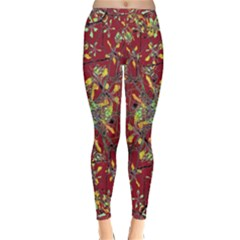 Colorful Oriental Floral Print Winter Leggings
