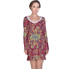 Colorful Oriental Floral Print Long Sleeve Nightdresses