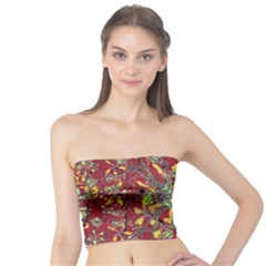 Colorful Oriental Floral Motif Print Tube Top
