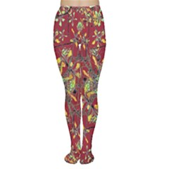 Colorful Oriental Floral Motif Print Tights