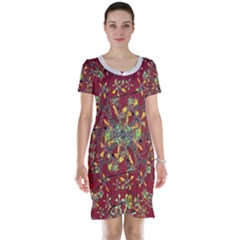 Colorful Oriental Floral Motif Print Short Sleeve Nightdress