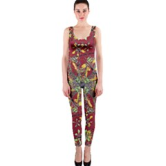 Colorful Oriental Floral Print Onepiece Catsuits
