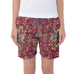 Colorful Oriental Floral Print Women s Basketball Shorts