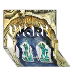 Luebeck Germany Arched Church Doorway WORK HARD 3D Greeting Card (7x5)