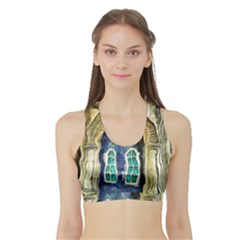 Luebeck Germany Arched Church Doorway Women s Sports Bra with Border