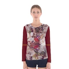 Butterfly On Blossom Women s Long Sleeve T Shirt