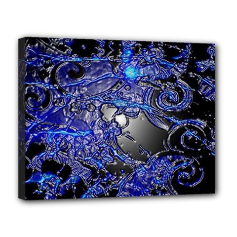 Blue Silver Swirls Canvas 14  x 11