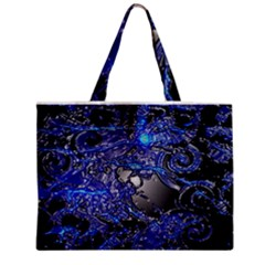 Blue Silver Swirls Tiny Tote Bags