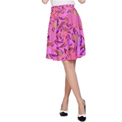 Bright Pink Confetti Storm A-Line Skirts
