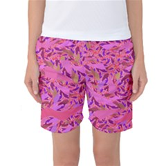 Bright Pink Confetti Storm Women s Basketball Shorts