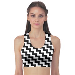 Black And White Zigzag Sports Bra