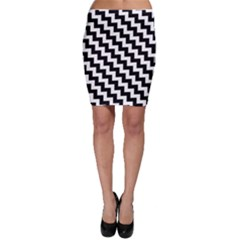 Black And White Zigzag Bodycon Skirts