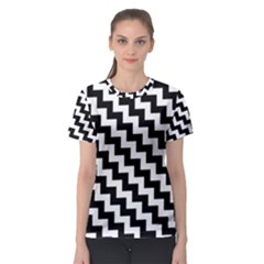 Black And White Zigzag Women s Sport Mesh Tees