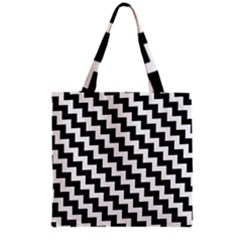 Black And White Zigzag Grocery Tote Bags
