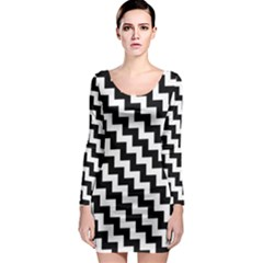 Black And White Zigzag Long Sleeve Bodycon Dresses