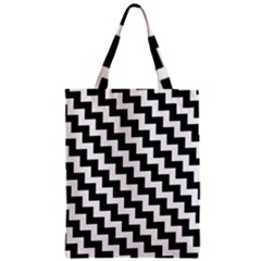 Black And White Zigzag Classic Tote Bags