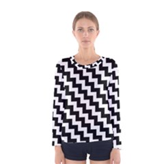Black And White Zigzag Women s Long Sleeve T-shirts
