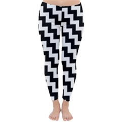 Black And White Zigzag Winter Leggings