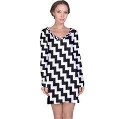 Black And White Zigzag Long Sleeve Nightdresses