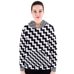 Black And White Zigzag Women s Zipper Hoodies