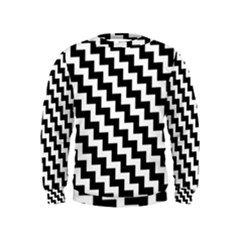 Black And White Zigzag Boys  Sweatshirts