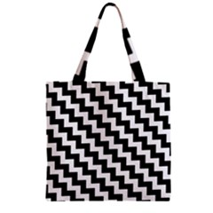 Black And White Zigzag Zipper Grocery Tote Bags